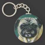 Pug Dog Art - My Happy Face Keychain