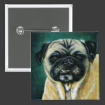 Pug Dog Art - My Happy Face Pinback Button