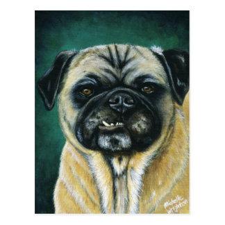 Pug Dog Art - My Happy Face Postcard
