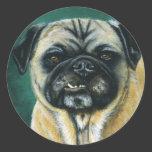 Pug Dog Art - My Happy Face Round Sticker