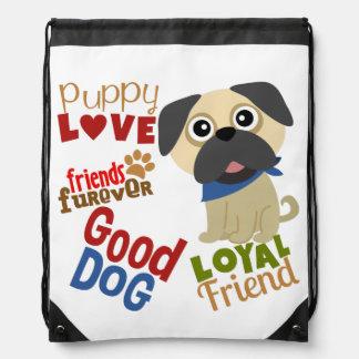 Pug Dog Best Friend Drawstring Bag