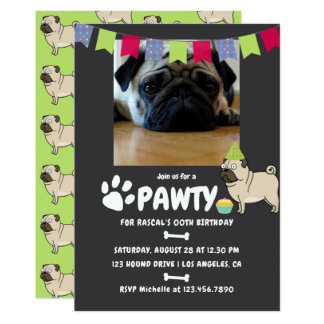 Pug Dog Birthday photo invitation