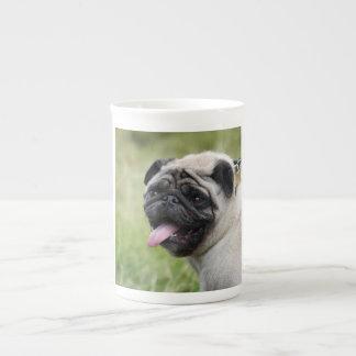 Pug dog bone china mug cute photo