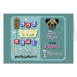 Pug Dog Bowling Tiki Night Cards