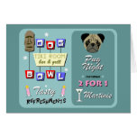 Pug Dog Bowling Tiki Night Greeting Card