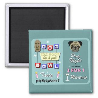 Pug Dog Bowling Tiki Night Refrigerator Magnets