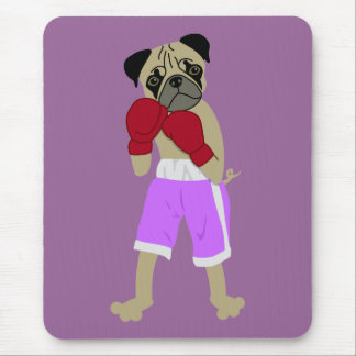 Pug Dog Boxing Gloves Boxer Mouse Pad