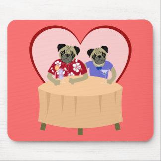 Pug Dog Boy and Girl Love Mouse Pad