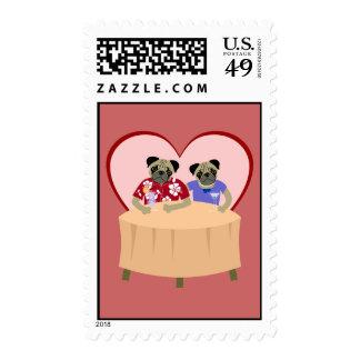 Pug Dog Boy and Girl Love Postage Stamps