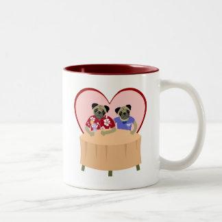 Pug Dog Boy and Girl Love Two-Tone Coffee Mug