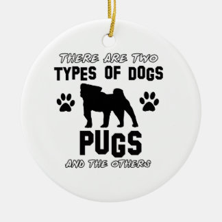 Pug dog breed designs Double-Sided ceramic round christmas ornament