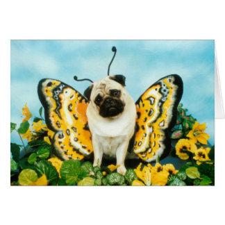 Pug Dog Butterfly Card