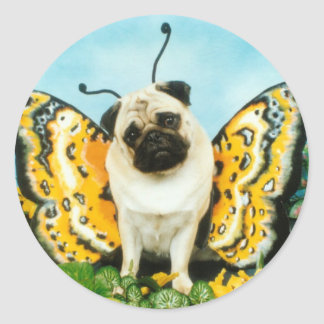 Pug Dog Butterfly Classic Round Sticker