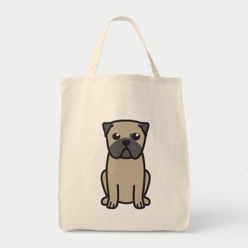 Pug Dog Cartoon Tote Bag
