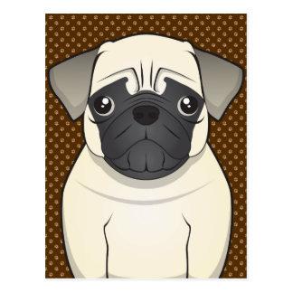 Pug Dog Cartoon Paws Postcard