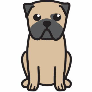 Pug Dog Cartoon Standing Photo Sculpture