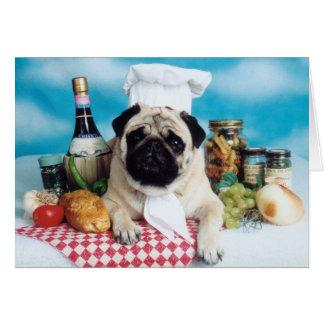 Pug Dog Chef Card