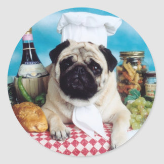 Pug Dog Chef Classic Round Sticker