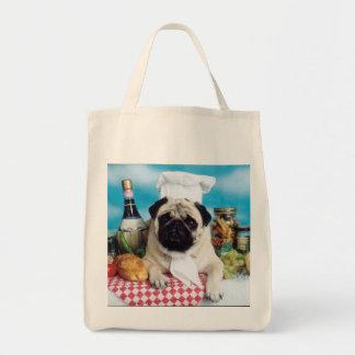 Pug Dog Chef Grocery bag