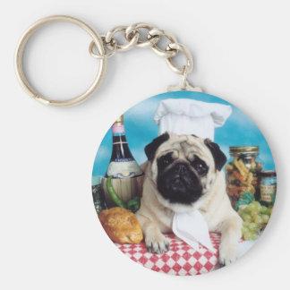 Pug Dog Chef Keychain
