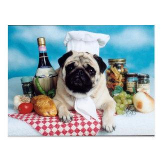 Pug Dog Chef Postcard