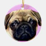 Pug dog christmas tree ornament