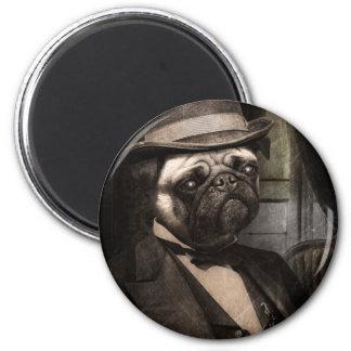 Pug Dog Dapper Gent 2 Inch Round Magnet