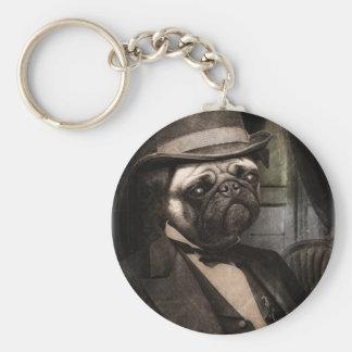Pug Dog Dapper Gent Basic Round Button Keychain