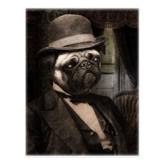 Pug Dog Dapper Gent Postcard