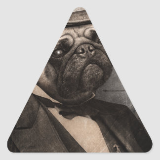 Pug Dog Dapper Gent Triangle Sticker