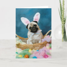 Pug Dog Easter Bunny Greeting Card - From an original photograph by artist/photographer, Candi Foltz.