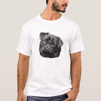 Pug dog face black cute mens white t-shirt