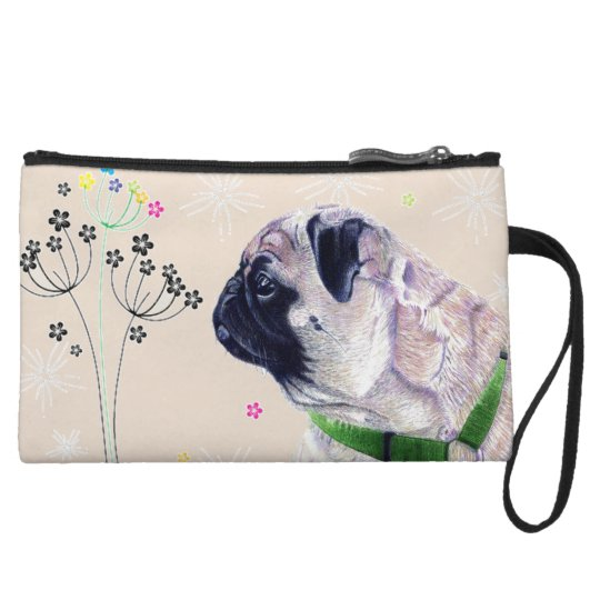 Pug Dog & Flowers Clutch Purse