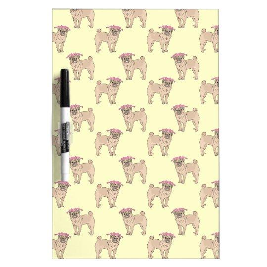 Pug Dog Girl pattern Dry Erase Board