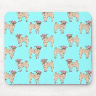 Pug Dog Girl pattern Mouse Pad