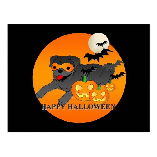 Pug Dog Halloween Postcard