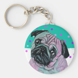 Pug Dog in pink and green turquoise Keychain