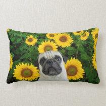 Pug dog in sunflowers lumbar pillow