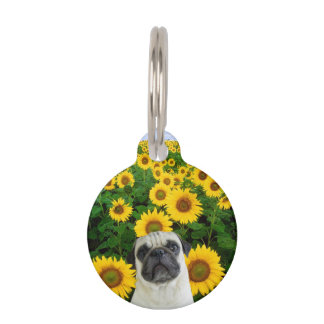 Pug dog in sunflowers pet name tag