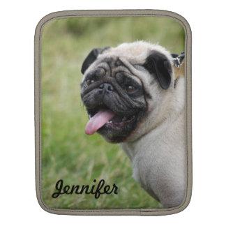 Pug dog ipad sleeve custom name cute photo