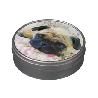 Pug Dog Jelly Belly Candy Tins