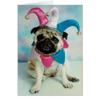 Pug Dog Jester Clown Greeting Card