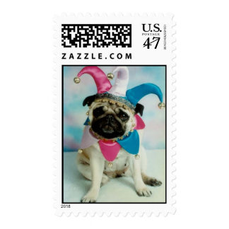 Pug Dog Jester Stamp