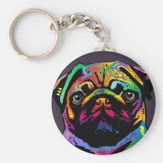 Pug Dog Basic Round Button Keychain