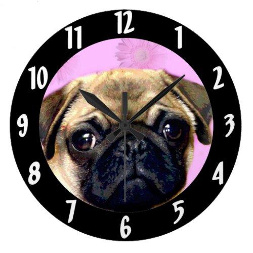 Pug dog large clock