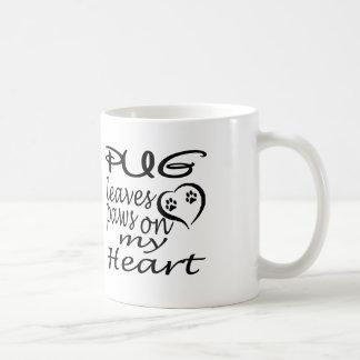 Pug Dog Leaves Paw On My Heart Classic White Coffee Mug