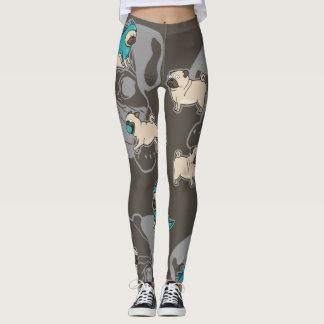 Pug Dog Leggings printed.
