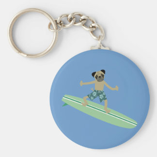 Pug Dog Longboard Surfer Basic Round Button Keychain