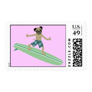 Pug Dog Longboard Surfer Postage