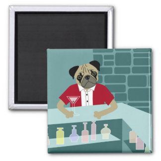 Pug Dog Martini Bar Magnets